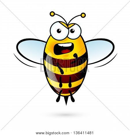 Illustration of a Loud Bee on White Background