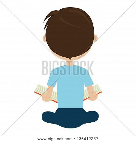 school avatar boy wearing colorful bue clothes sitting  back side view  over isolated background, vector illustration