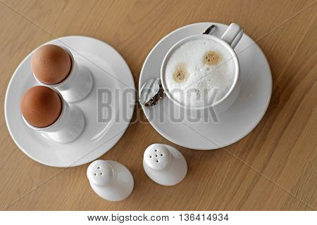 Coffee And Soft Boiled Egg In Eggcup