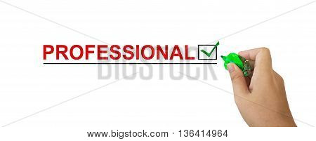 Text Professional In Red Colour With Isolated Hand