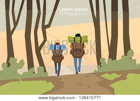 Traveler Couple Hikers With Rucksack Rear View Nature Background Vector Illustration