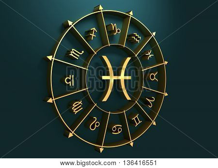 Fish astrology sign. Golden astrological symbol. 3D rendering