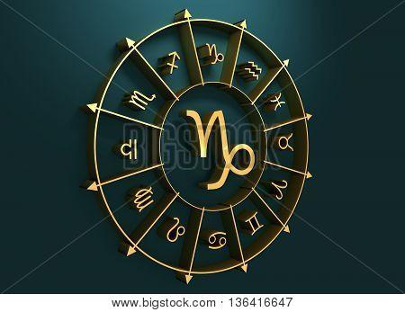 Goat astrology sign. Golden astrological symbol. 3D rendering