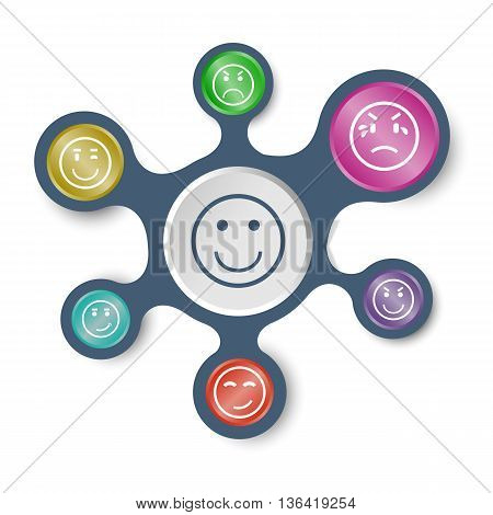 Circle face infographic templates with connected metaballs, stock vector