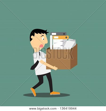 vector illustration of sad businessman leaving work
