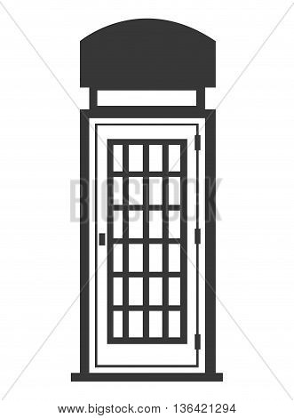black and white british telephone cabin over isolated backgorund, vector illustration