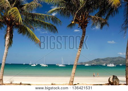 holiday on tropical beach in the good day blue sky and more of yatch