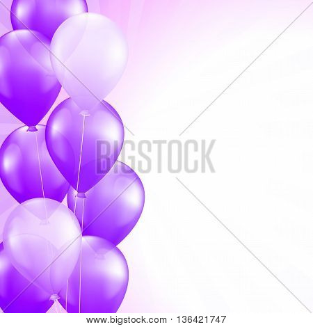 purple balloons border vector celebration square background