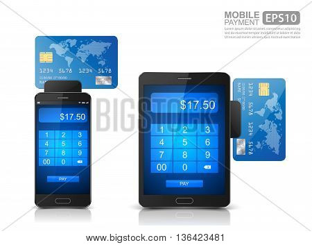 Mobile payment icon, Smartphone with processing of mobile payments from credit card ,vector