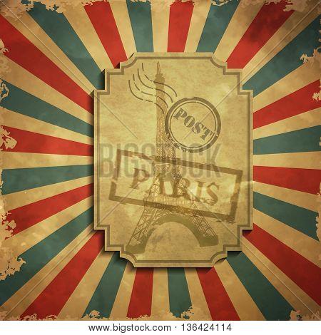 Paris in vintage style poster, vector illustration grange background
