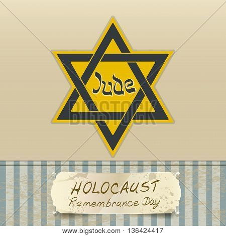 holocaust remembrance day with Star of David. vector