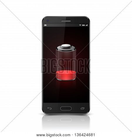 Smartphone with red low battery icon, Mobile phone Low Battery.  vector