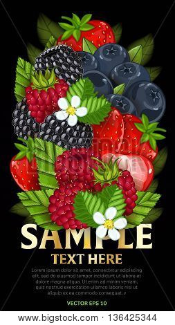 Ingredients for cooking berries yogurt. Vector berries mix, isolated berries on dark background. Fresh berries side view. Healthy berries with green leaf. Bunch of berries. Vegans food. Berries background.