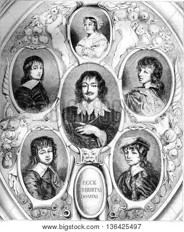 Portraits of Constantijn Huygens and his children by Van Dyck, the Musee de la Hague, vintage engraved illustration. Magasin Pittoresque 1861.