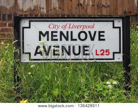 Menlove Avenue Sign In Liverpool