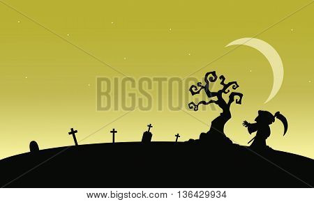 Silhouettte of warlock in tomb at afternoon illustration
