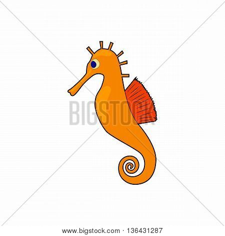 Seahorse, hippocampus icon in cartoon style on a white background