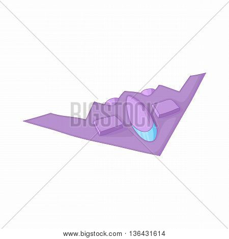 Stealth bomber icon in cartoon style on a white background