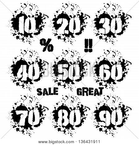 Grunge dozens of numerals with splashes icon set in black and white. Decades of numbers in spatters from 10 to 90 also sale and percent lettering as bonus. Isolated on white. Vector illustration