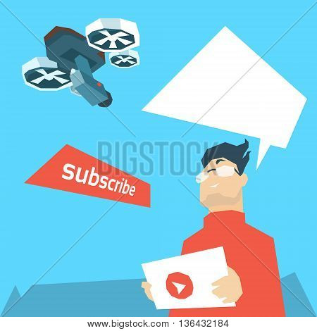 Man Hold Remote Control Drone Flying Air Quadrocopter Aerial Shooting Flat Vector Illustration
