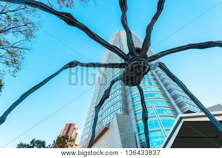Tokyo, Japan - November 28 2015: Maman - A Spider Sculpture By Louise Bourgeois, Situated At The Bas