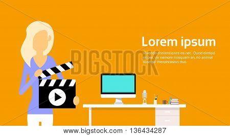 Woman Hold Clapper Desktop Workplace Video Blogging Vector Illustration