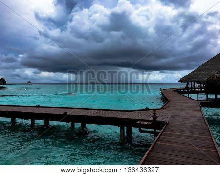 Storm Cloud seen the the sea of Maldives Islands