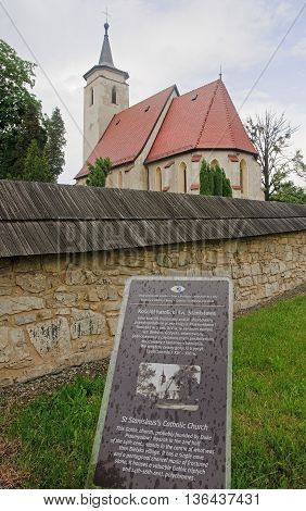 BIELSKO-BIALA POLAND - JUNE 5 2016: St Stanislaus's catholic gothic church on 5 June 2016 in Bielsko-Biala Poland. It is the oldest church in the city dating from the twelfth century