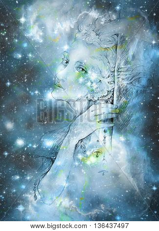 gentle elve spirit looking up at the starlitt sky, illustration. poster
