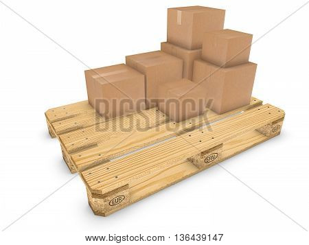 Euro palette with several boxes 3D illustration