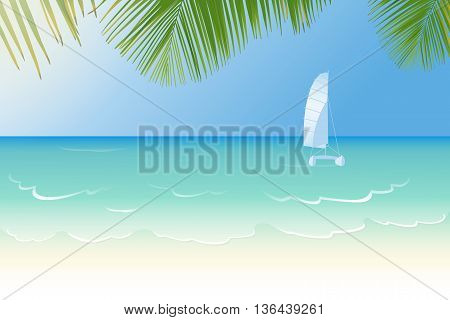 Idyllic white sandy beach lapped by the waves of crystal clear blue sea catamaran and palm tree leaves vector illustration