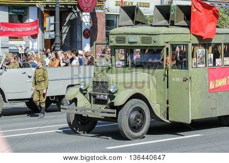 St. Petersburg, Russia - 9 May, Bus of the war years in the action