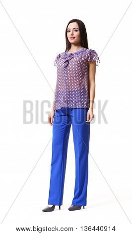 woman with straight hair style in sheer short sleeve blosue blue trousers high heel shoes going full body length isolated on white