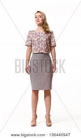 woman with straight hair style in formal summer print short sleeve blose and skirt high heel shoes going full body length isolated on white