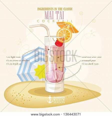 Vector illustration of popular alcoholic cocktail. Mai tai club alcohol shot.