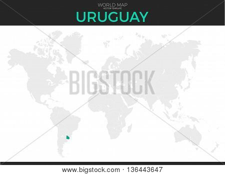 Oriental Republic of Uruguay location modern detailed vector map. All world countries without names. Vector template of beautiful flat grayscale map design with selected country and border location