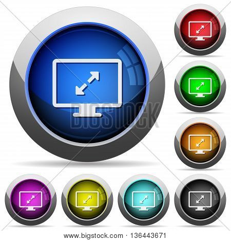 Set of round glossy Screen resolution buttons. Arranged layer structure.