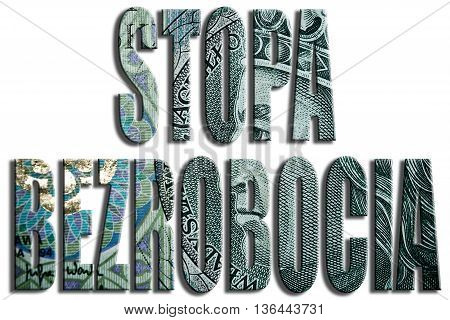 Stopa bezrobocia - unemployment rate. 100 PLN or Polish Zloty texture. 3D Illustration poster