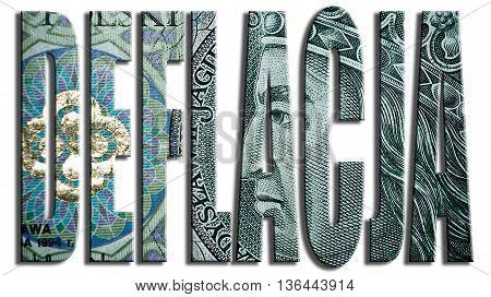 Deflacja, Deflation. 3D Illustration