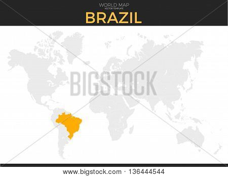 Federative republic vector photo free trial bigstock federative republic of brazil location modern detailed vector map all world countries without names gumiabroncs Image collections
