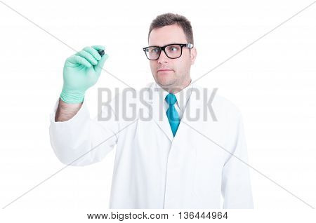 Male Doctor Writing On Transparent Screen Copyspace