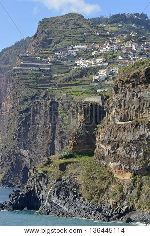 View to Cabo Girao and Camara de Lobos from cliff top walkway. Madeira Portugal