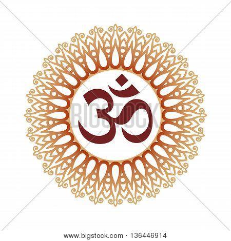 Om Symbol Aum Sign and Decorative Indian Ornament Mandala