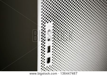 close up of power button abstrackt background texture