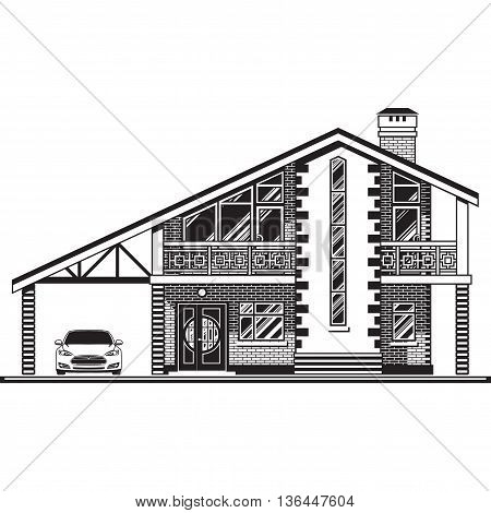 House or cottage, a carport and a car. Vector graphics