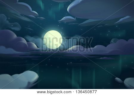 Watercolor Style Video Game Digital CG Artwork Concept Art Illustration Set 5: The Moon Night above the Ocean. Realistic Fantastic Cartoon Style Character, Background, Wallpaper, Story, Card Design