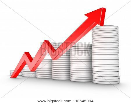 Red Arrow And Coins Growth Chart