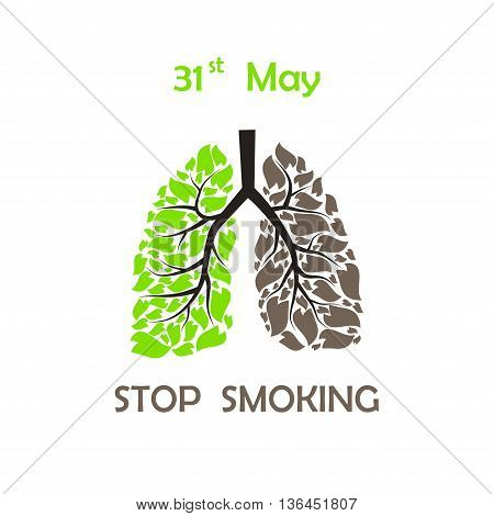 Human lungs with green and brown leaves with STOP SMOKING text and date