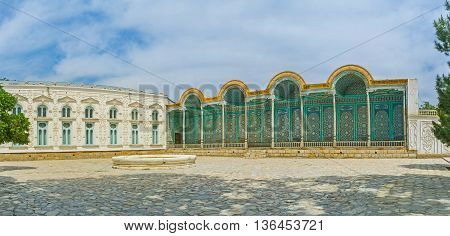 BUKHARA UZBEKISTAN - APRIL 29 2015: The Sitorai Mokhi-Khosa Palace is also known as the Last Emir's Palace or Palace Under the Moon and Stars on April 29 in Bukhara.