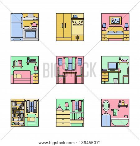 House interior thin line illustration set collection
